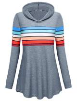 MOQIVGI Womens Sweatshirts Long Sleeve Fashion Casual Colorblock Pullover Hoodies