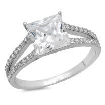 Clara Pucci 2.22 CT Princess Cut CZ Pave Designer Solitaire Ring Band 14k White Gold