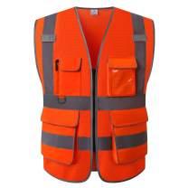 UNINOVA High Visibility Safety Vest - Multi Pockets Reflective Mesh Breathable Workwear, ANSI/ISEA Standards (Small, Orange Mesh)