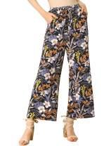 Allegra K Women's Floral Boho Hippie Drawstring Wide Leg High Waist Pants