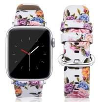 Kaome Compatible for Leather Apple Watch Band 40mm 38mm, Women Floral Strap Wrist, Replacement Bands for iWatch Series 4, Series 3, Durable Prints, Smooth Synthetic Leather - Enchanting Peony
