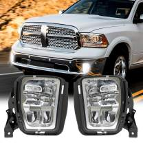 4X4FLSTC DOT Approved LED Fog Lights Fog lamps Compatible with Dodge Ram Pickup 1500 2013 2014 2015 2016 2017 2018 Bumper Driving Fog Lamps Replacement Silver
