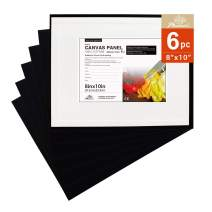 PHOENIX Black Painting Canvas Panel Boards - 8x10 Inch/6 Pack - 1/8 Inch Deep Artist Canvas for Oil & Acrylic Paint, Collages, Advertising Poster & Decorating Projects