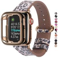 JSGJMY Compatible with Apple Watch Band 38mm 40mm 42mm 44mm Women Men Genuine Leather Replacement Strap for iWatch Series SE 6 5 4 3 2 1(Leopard with Bronze Gold Clasp,38mm/40mm S/M)