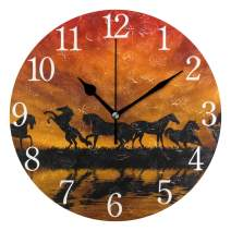 senya Wall Clock Silent 9.5 Inch Battery Operated Non Ticking Lining Up Round Decorative Acrylic Quiet Clocks for Bedroom Office School Home (Dark Horse)