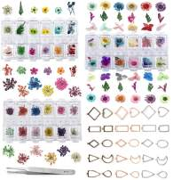 LANBEIDE 3 Sets Natural Real Dried Flower with 30PCS Hollow Bezel Trays, Tweezers for Epoxy Resin Casting Molds Nails