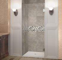 "Aston Cascadia Completely Frameless Hinged Shower Door, 38"" x 72"", Brushed Stainless Steel"