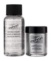 Mehron Makeup Metallic Powder (.17 oz) with Mixing Liquid (1 oz) (Silver).