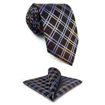 SHLAX&WING Mens Necktie Set with Pocket Square Silk Tie Set New