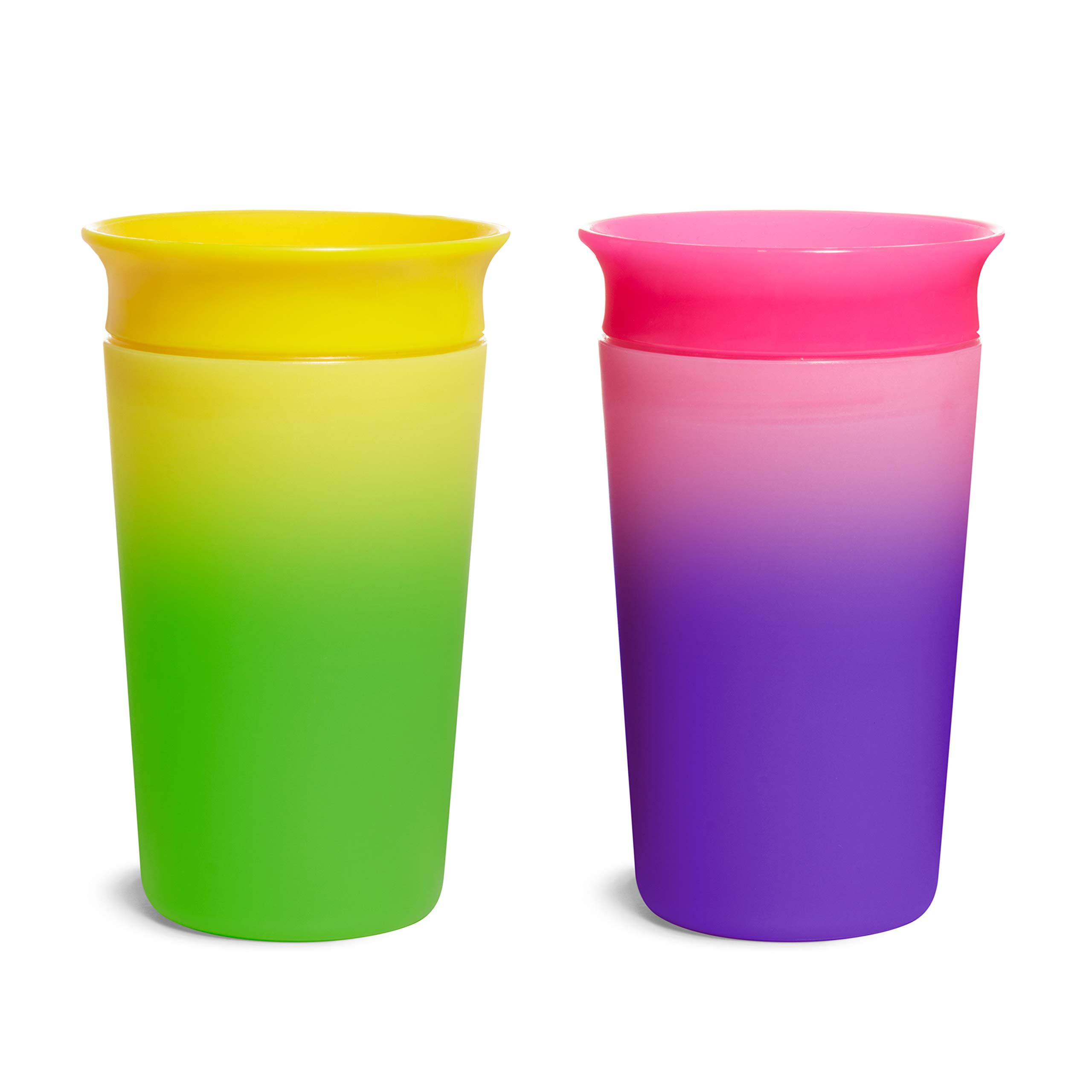 Munchkin Miracle 360 Color Changing Sippy Cup, 9 Oz, 2 Pack, Pink/Yellow