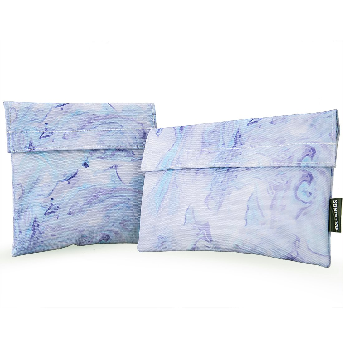 Ava & Kings 2pc Eco Friendly Reusable Snack Bags Sandwich Wrap w/Insulated Fabric - Great for School Lunch, Work, Picnic Food, Boys & Girls - Sizes: 7x7 in & 6x9 in - Purple Marble