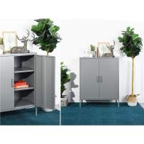 HOMY CASA Mini Office Storage Cabinet, 2 Door Metal Storage Locker Cupboard, Side Storage Organizer Cabinet with 3 Cupboard, Freestanding Unit for Home, Garden, Office (Grey)
