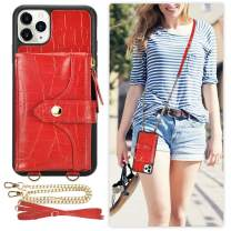 iPhone 11 Pro Max Wallet Case, LAMEEKU iPhone 11 Pro Max Card Holder Case Crocodile Skin Pattern Crossbody Wallet Case with Wrist Strap Protective Cover Compatible with iPhone 11 Pro Max, 6.5 Inch-Red