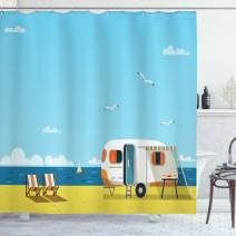 "Ambesonne Seaside Shower Curtain, Illustration of Summertime Caravan Coastline Clouds Seagulls Scenery Print, Cloth Fabric Bathroom Decor Set with Hooks, 84"" Long Extra, Navy Yellow"