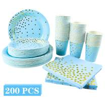 TOPNEW 200PCS Party Supplies Set Includes Disposable Paper Plates Cups and Napkins for Festival Party, Golden Dot Decoration Party Set, Serves 50 Birthday Party Wedding Shower Christmas