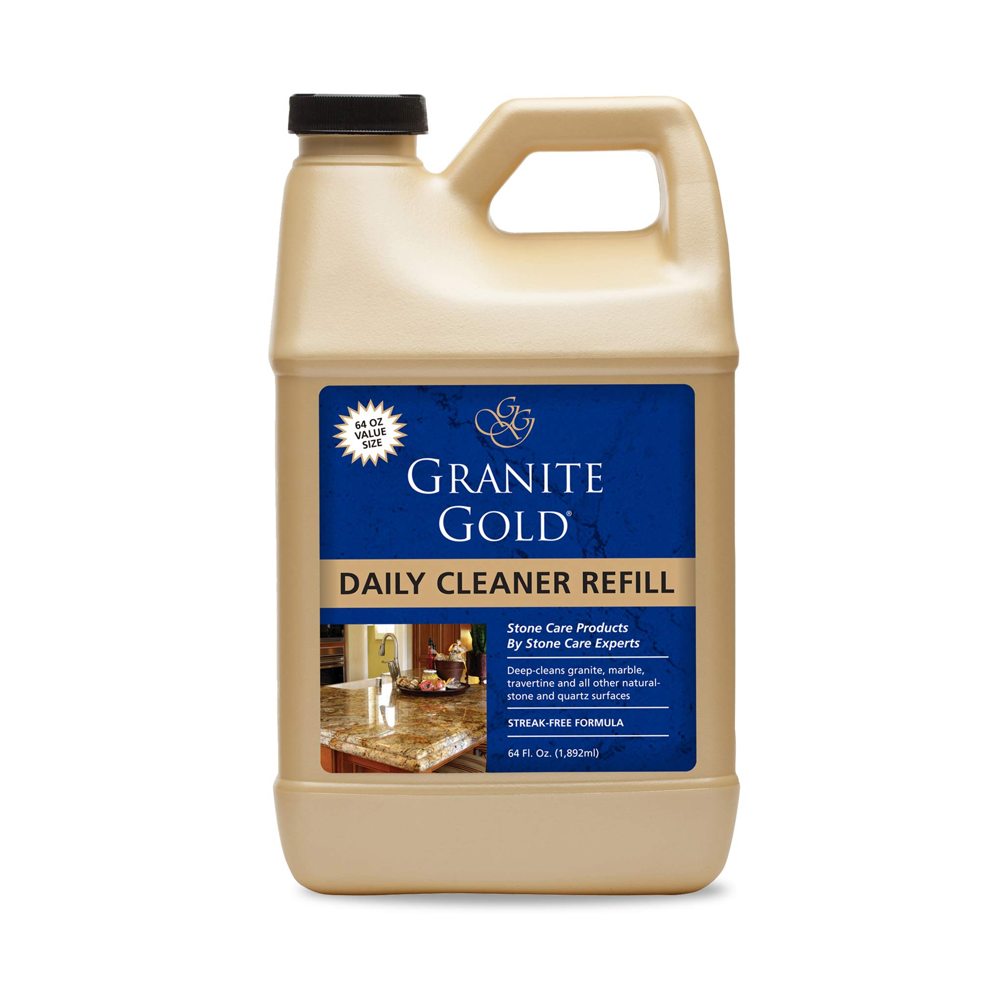 Granite Gold Daily Cleaner Refill Streak Free Cleaning For Granite Marble Travertine Quartz Natural Stone Countertops Floors Made In The Usa 64 Fl Oz