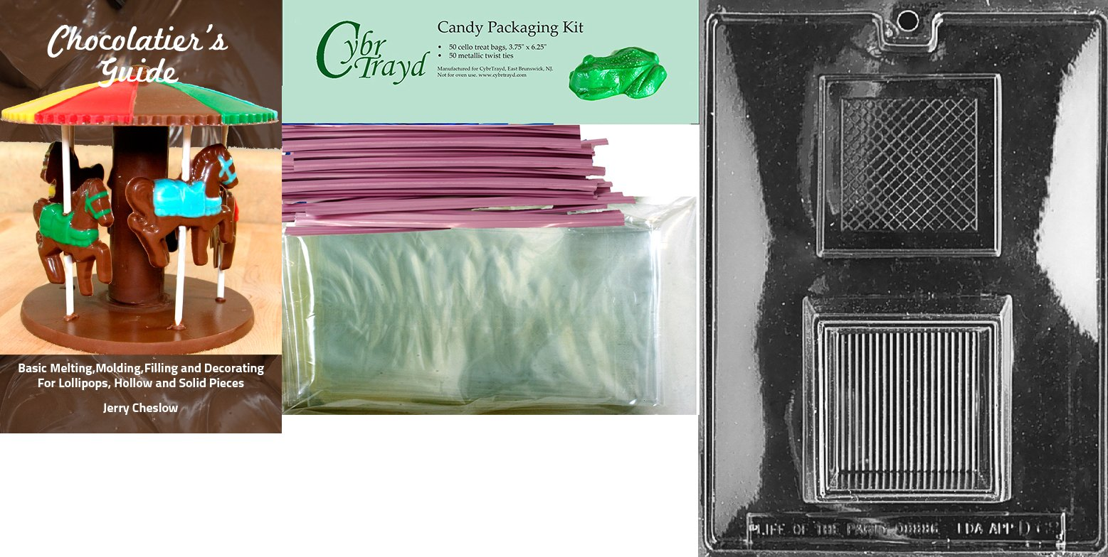"Cybrtrayd Mdk50BPKBk-D068""Pour Box Dads and Moms"" Chocolate Candy Mold with Bundle of 50 Cello Bags, 25 Blue and 25 Pink Twist Ties and Chocolatier's Guide"