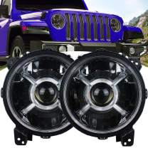 Akmties For Jeep JL Headlight 9 Inch Round LED Front light DRL for 2018 2019 Jeep Wrangler JL 2020 Jeep Gladiator JL Accessories High Low Beam Headlight with Daytime Running Lights