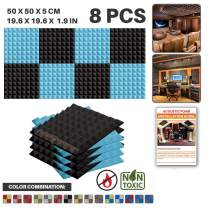 """Acepunch 8 Pack - 4 pcs Black and 4 pcs Baby Blue Pyramid Acoustic Foam Panel DIY Design Studio Soundproofing Wall Tiles Sound Insulation 19.6"""" x 19.6"""" x 1.9"""" AP1034"""