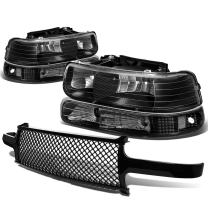 Replacement for Chevy SIlverado/Suburban/Tahoe Pair of Black Housing Clear Corner Headlight+Black Meshed Front Grille