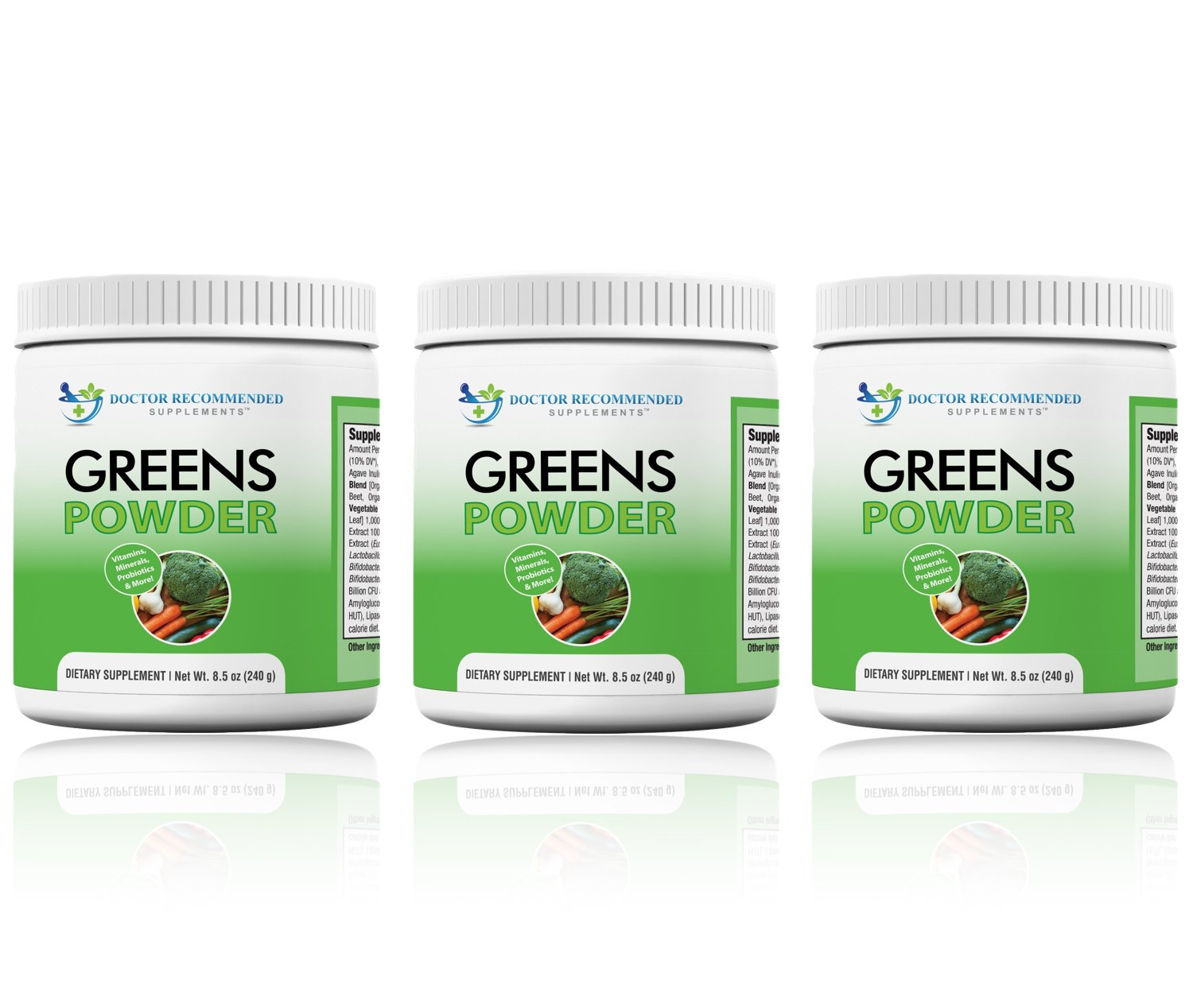 Greens Powder - Doctor Recommended Complete Natural Whole Super Food Nutritional Supplement - Greens Drink w/Organic Fruits, Vegetables, (Pack of 3)