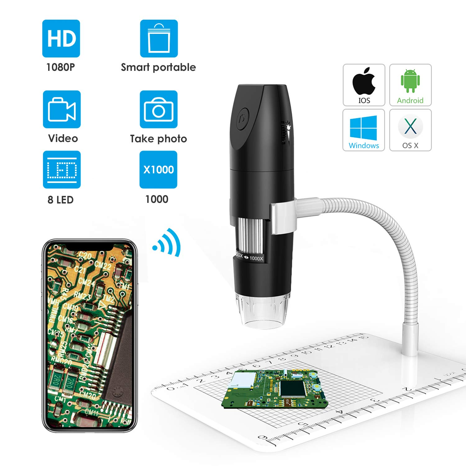 HD WiFi Wireless Digital Microscope 1080P 8 Pancellent Adjustable LED Lights 1080P Wi-Fi Endscope 50X to 1000X USB Handheld Camera with Metal Stand, Compatible with iPhone, iPad, Android Smartphone, M
