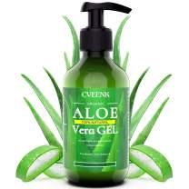 CVEENK Aloe Vera Gel, 10oz 300ml Organic Aloe Vera Moisturizing Gel, 100% Natural Hydrating Skin Cooling Soothing Aloe Gel, Pure Aloe Plant for Face, Body, Hair, Sunburn, Bites, Rashes, Sensitive Skin