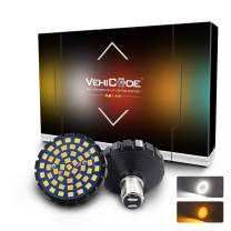 VehiCode 1157 Harley Davidson LED Light Bulb Kit - Halo Ring White and Amber Dual Color Switchback 2357 2057 7528 BAY15D for Motorcycle Front Running Driving Turn Signal Blinker Bullet Lamp (2 Pack)