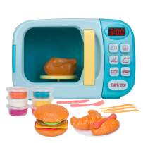 Christoy Microwave Kitchen Play Set with Light Sound for Kids with Pretend Fake Food and 6 Color DIY Play-Dough Clay Great for Toddlers 3 and Older Grils and Boys (Blue)