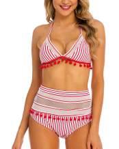 Coskaka Women's Mesh Striped High Waist Bikini Set Tassel Trim Top Halter Straps Swimsuit