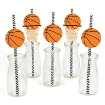 Big Dot of Happiness Nothin' but Net - Basketball Paper Straw Decor - Baby Shower or Birthday Party Decorative Straws - Set of 24