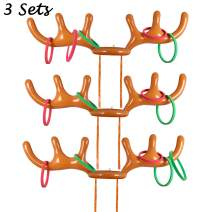 luck sea 3 Sets Inflatable Reindeer Ring Toss Antler Games Toys for Christmas Xmas Holiday Party Favors