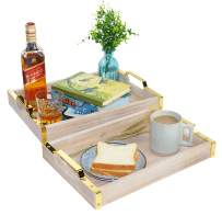 Spiretro Set of 2 Rectangular 16 x 12 inch Breakfast Serving Tray with Golden Metal Handles, for Coffee Table Tea Bar Food Bed Parties Kitchen Dining Living Room, Nested, Rustic Torched Wood - Grey