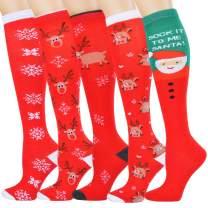 Knee High Christmas Socks, Christmas Compression Socks Women, Cotton Christmas Running Socks for Women