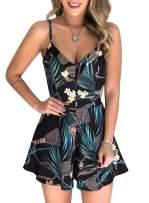 Lovezesent Womens Tropical Boho Printed Cami Flare Beach Romper Short Jumpsuit