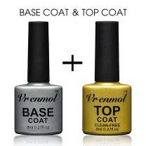 Vrenmol Soak Off UV LED Gel Nail Polish Base Coat and No Wipe Top Coat Kit Set 8ml