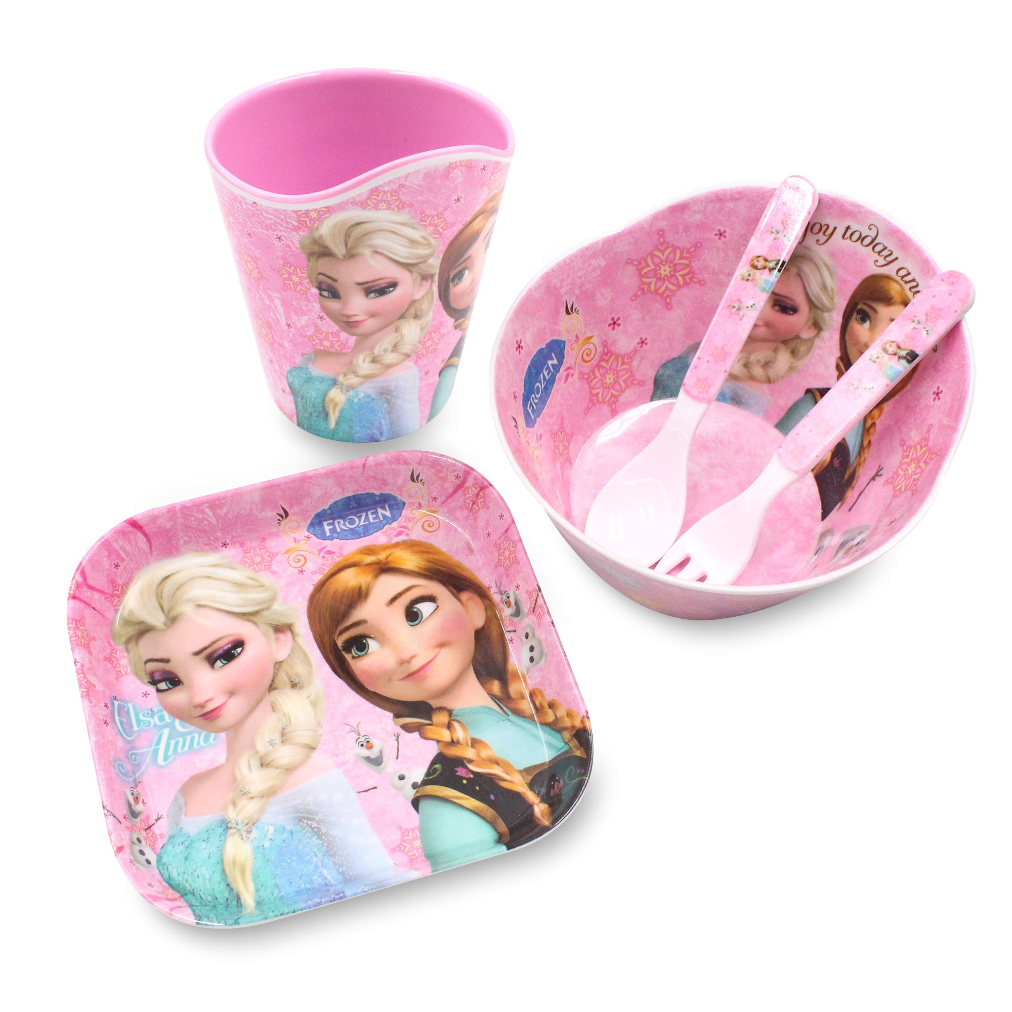 Finex Frozen Queen Elsa Princes Anna 5 Pcs Set Children Cartoon Durable Tableware Meal Dishes Mealtime Food Feeding Eating Set includes Dinner Serving Bowl Plate Cup with a Matching Spoon & Fork Kids