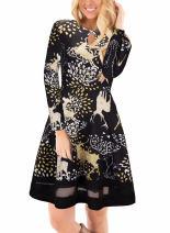 Ruiyige Women's Christmas Dress Long Sleeve Xmas Print Flared Midi Dress