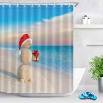 LB Tropical Christmas Shower Curtain for Kids,3D Printing Sand Snowman on Beach Scene Funny Xmas Bathroom Curtain Waterproof Fabric Bathroom Decor 72x72 Inch