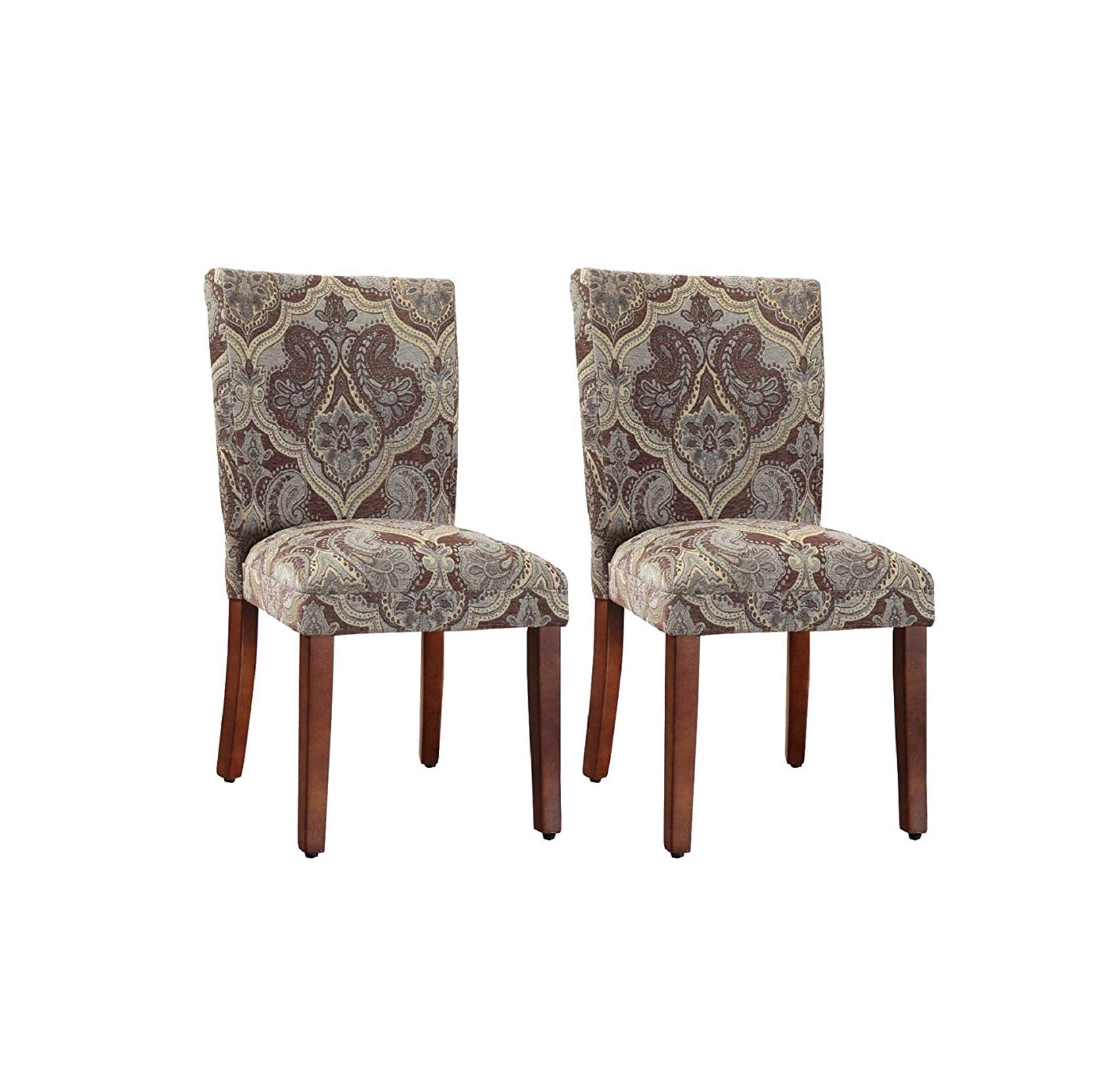 HomePop Parsons Upholstered Accent Dining Chair, Set of 2, Blue and Brown Paisley