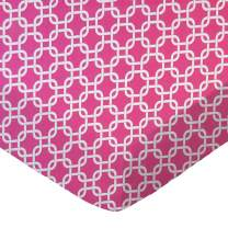 SheetWorld Fitted Portable / Mini Crib Sheet - Hot Pink Links - Made In USA