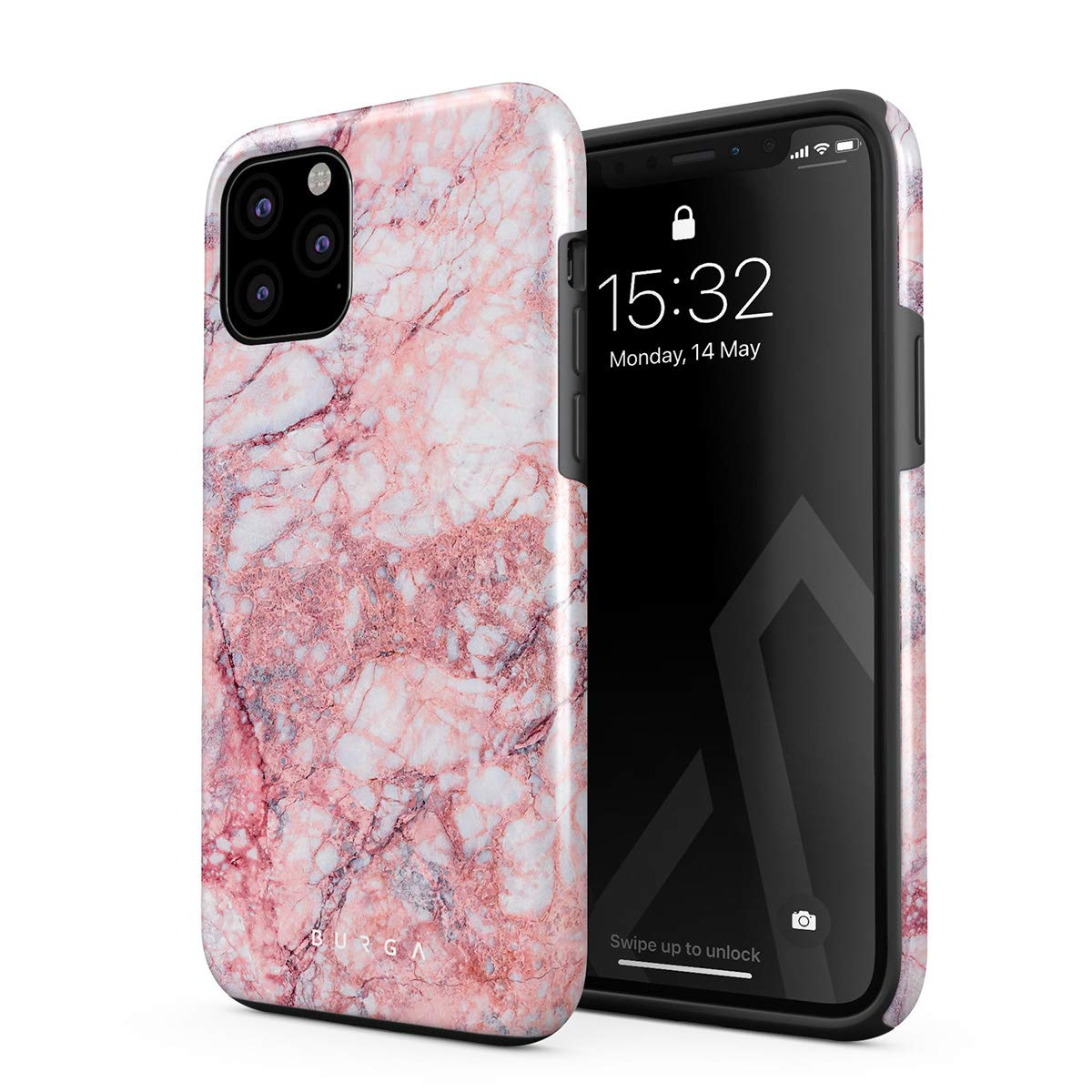 BURGA Phone Case Compatible with iPhone 11 PRO MAX - Soft Coral Light Pink Tropical Marble Cute Case for Girls Heavy Duty Shockproof Dual Layer Hard Shell + Silicone Protective Cover