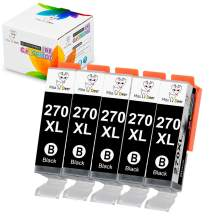 Miss Deer Compatible PGI-270XL Ink Cartridge Replacement for Canon PGI270XL 270 XL Work with PIXMA TS6020 MG7720 MG6820 MG6821 TS5020 TS8020 TS9020 Printer (5 Large Black) 5 Pack
