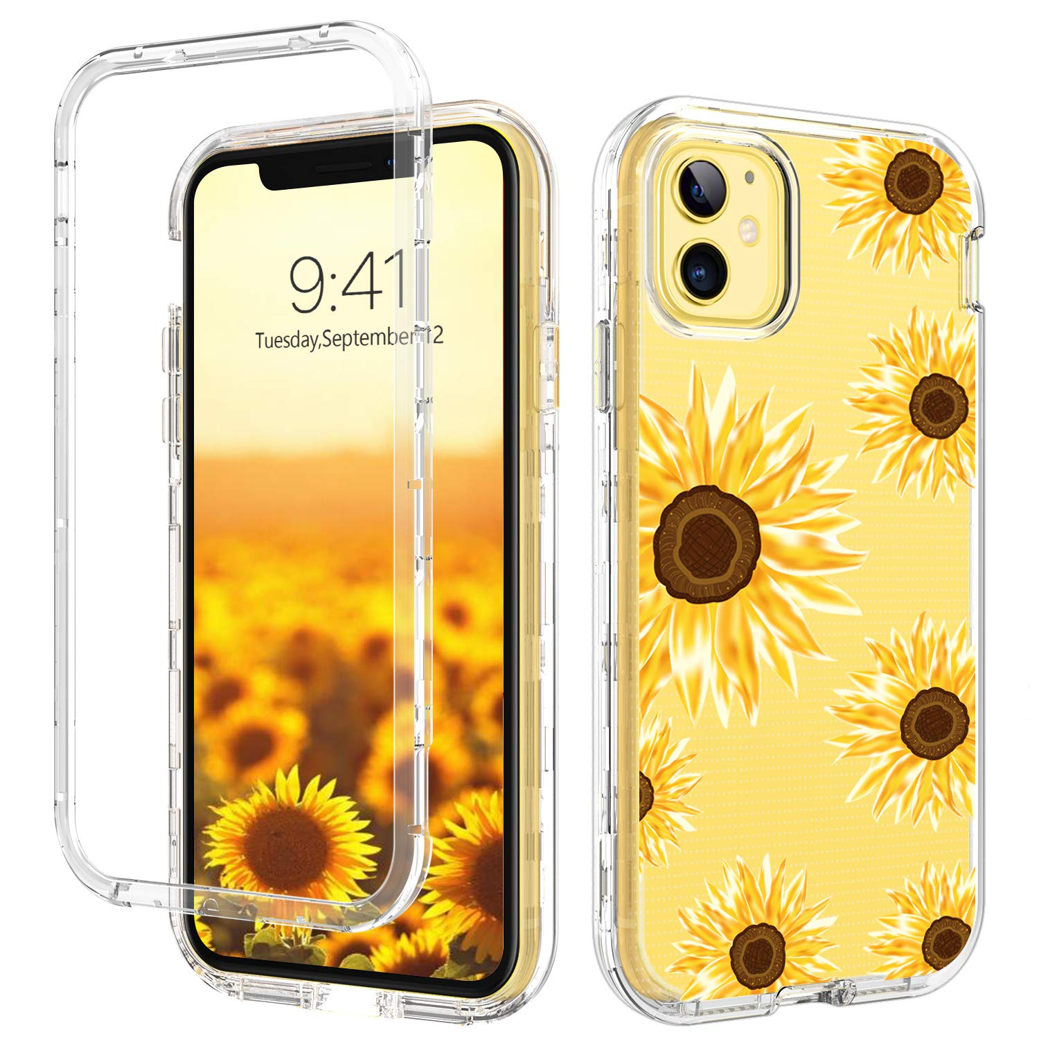 GUAGUA iPhone 11 Case Sunflower Clear Flowers Floral 3 in 1 Hybrid Hard Plastic Soft TPU Bumper Cover Shockproof Protective Phone Cases for iPhone 11 6.1-inch 2019 Transparent Yellow