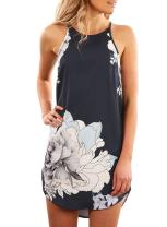 Aleumdr Womens Summer Floral Print Halter Sleeveless Mini Dress