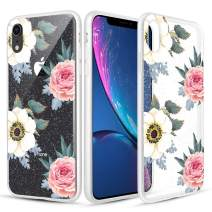 Caka Clear Case for iPhone XR Floral Glitter Clear Case Flower Pattern Pink Rose Slim Girly Anti Scratch Excellent Grip Premium Clarity TPU Crystal Protective Case for iPhone XR (6.1 inch)(Pink White)