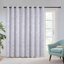 Estelar Textiler Wide Blackout Curtains Thermal Insulated Curtains with Silver Star Print Pattern Grommet Curtains for Patio Door, 100W x 84L, Grayish White, 1 Panel