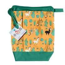 Lil Helper Dry/Wet Bag for Diapers - Waterproof & Secure (Succulents)