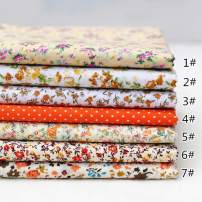"""JYRibbon 19.7"""" x 19.7"""" (50cm x 50cm) No Repeat Design Floral Printed 7 Flat Cotton Fabric for DIY Patchwork, Sewing Tissue to Patchwork, Quilting Squares Bundles (Orange)"""