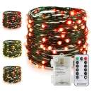 ER CHEN Battery Operated Fairy String Lights with Remote Timer, 33Ft 100 LED Color Changing 8 Modes Green Copper Wire Waterproof Christmas Lights for Bedroom Indoor Outdoor Decor (Warm White & Red)